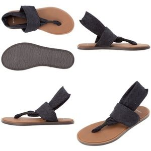 Sanuk Black Yoga Devine Slingback Sandals (KC)